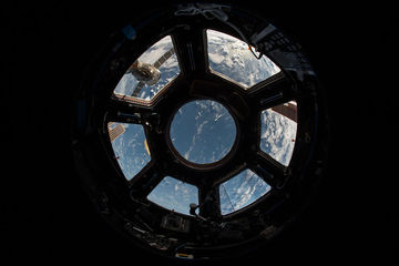 The windows of the International Space Station's Cupola module. #YearInSpace